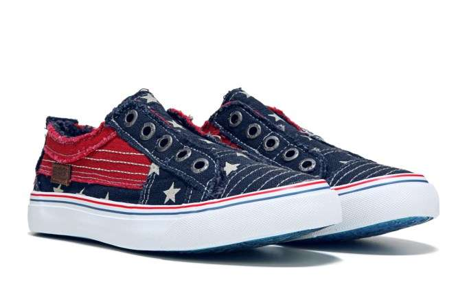 Women's Play Slip On Sneaker - navy star print - red