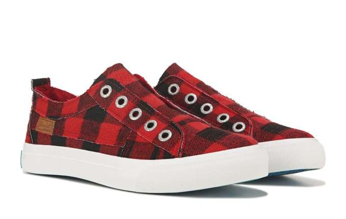 Women's Play Slip On Sneaker - Red Buffalo Check